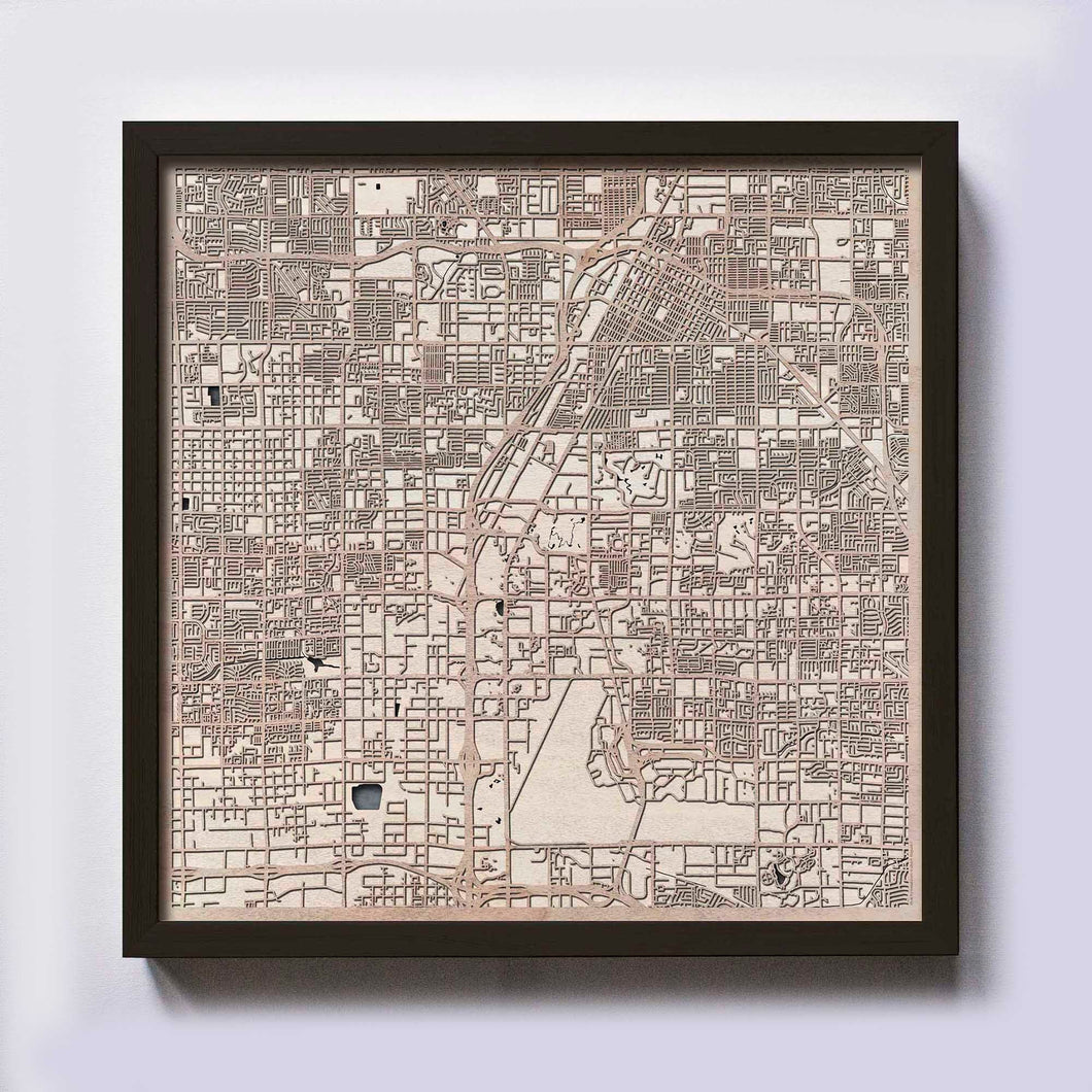 Las Vegas Wood Map - Laser Cut Custom Map Streets City 3d Framed Wooden Maps Travel Wall Art - Birthday Christmas Gift Wedding Gifts