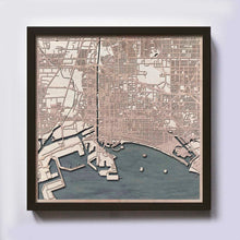 Load image into Gallery viewer, Long Beach Wood Map - Laser Cut Custom Map Streets City 3d Framed Wooden Maps Travel Wall Art - Birthday Christmas Gift Wedding Gifts