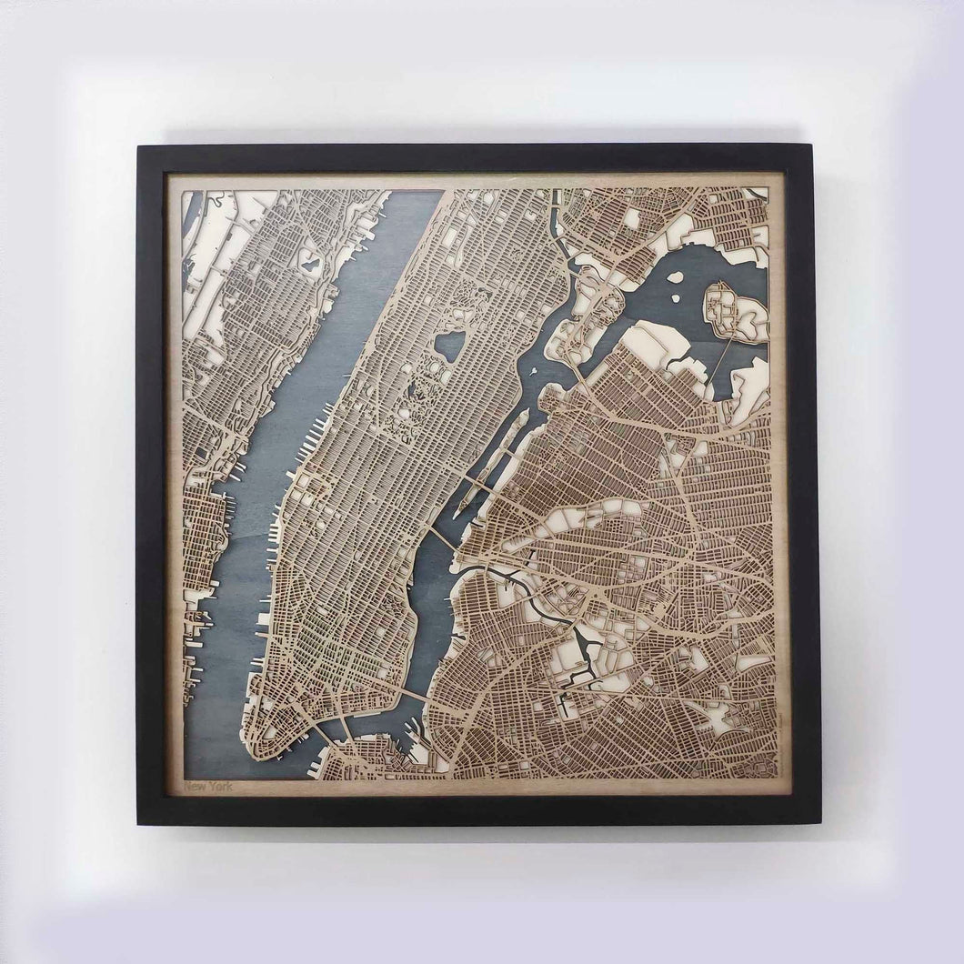 New York Wooden Map by CityWood - Custom Wood Map Art - Unique Laser Cut Maps