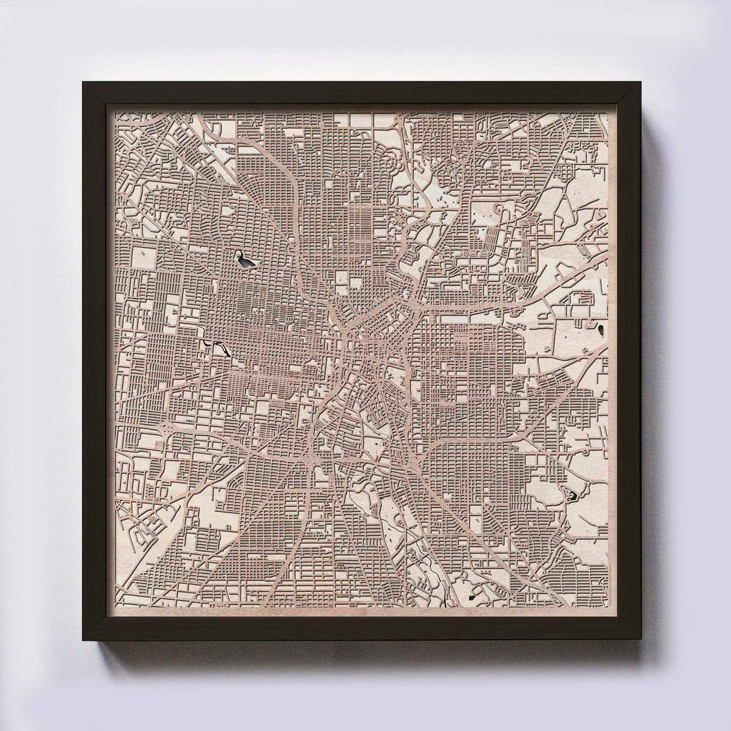 San Antonio Wooden Map