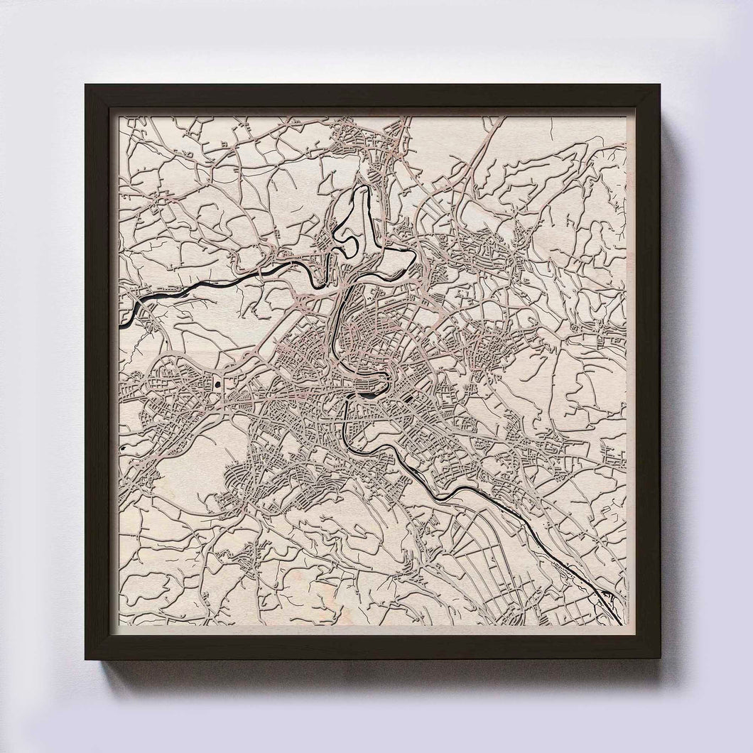 Bern Wood Map - Laser Cut Custom Map Streets City 3d Framed Wooden Maps Travel Wall Art - Birthday Christmas Gift Wedding Gifts