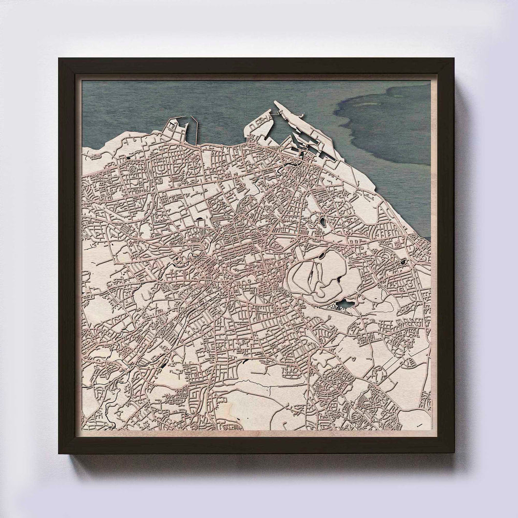 Edinburgh Wood Map - Laser Cut Custom Map Streets City 3d Framed Wooden Maps Travel Wall Art - Birthday Christmas Gift Wedding Gifts