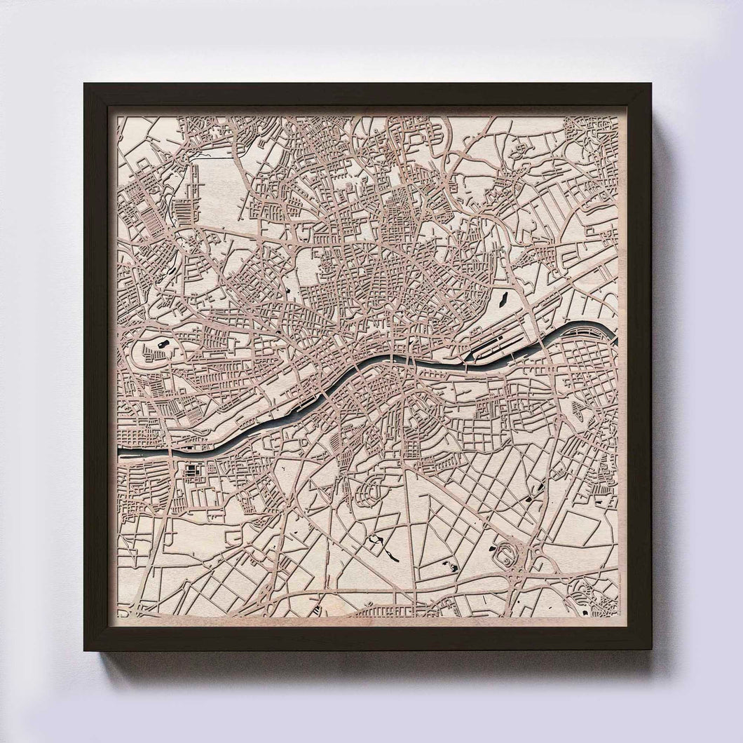 Frankfurt Wood Map - Laser Cut Custom Map Streets City 3d Framed Wooden Maps Travel Wall Art - Birthday Christmas Gift Wedding Gifts