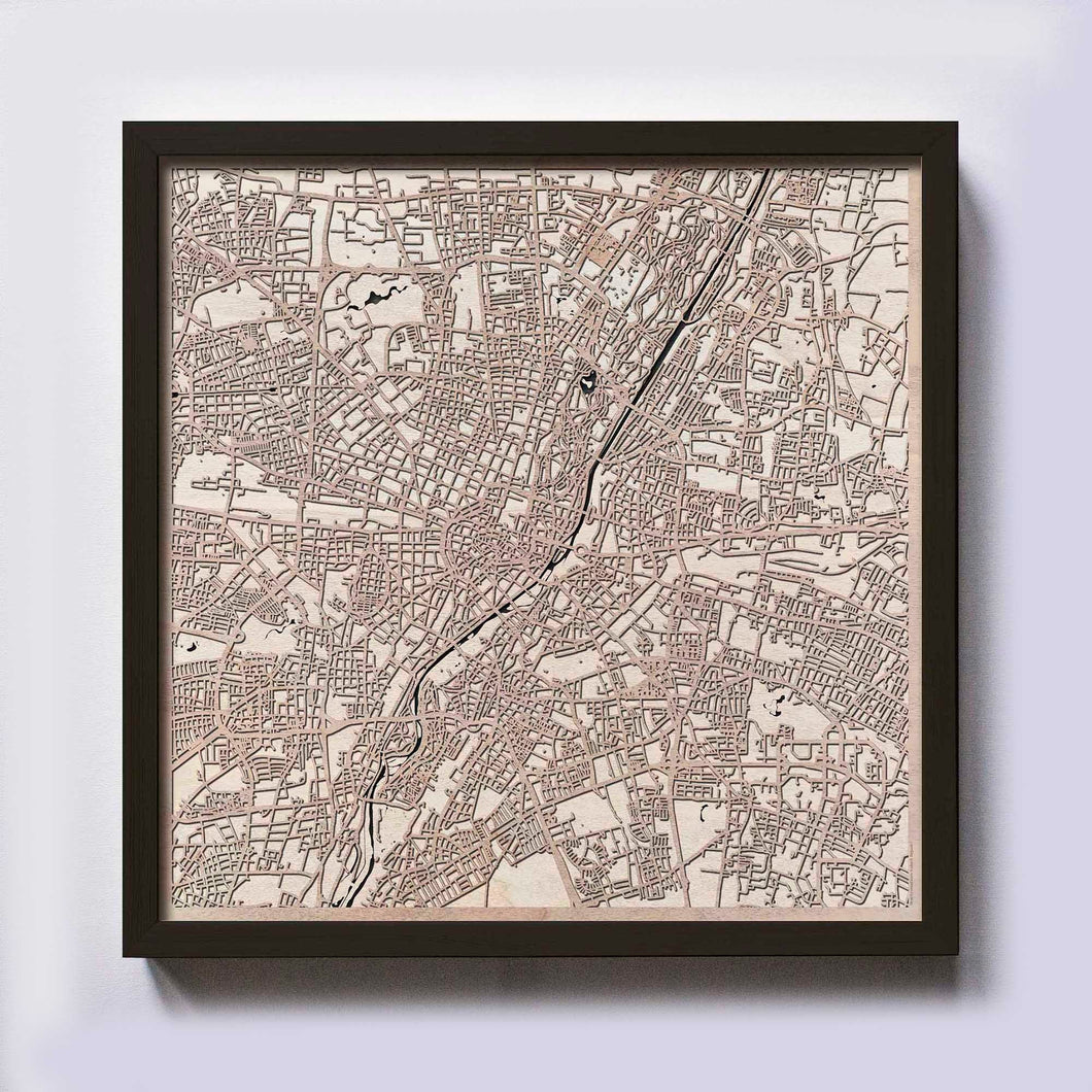 Munich Wooden Map by CityWood - Custom Wood Map Art - Unique Laser Cut Maps