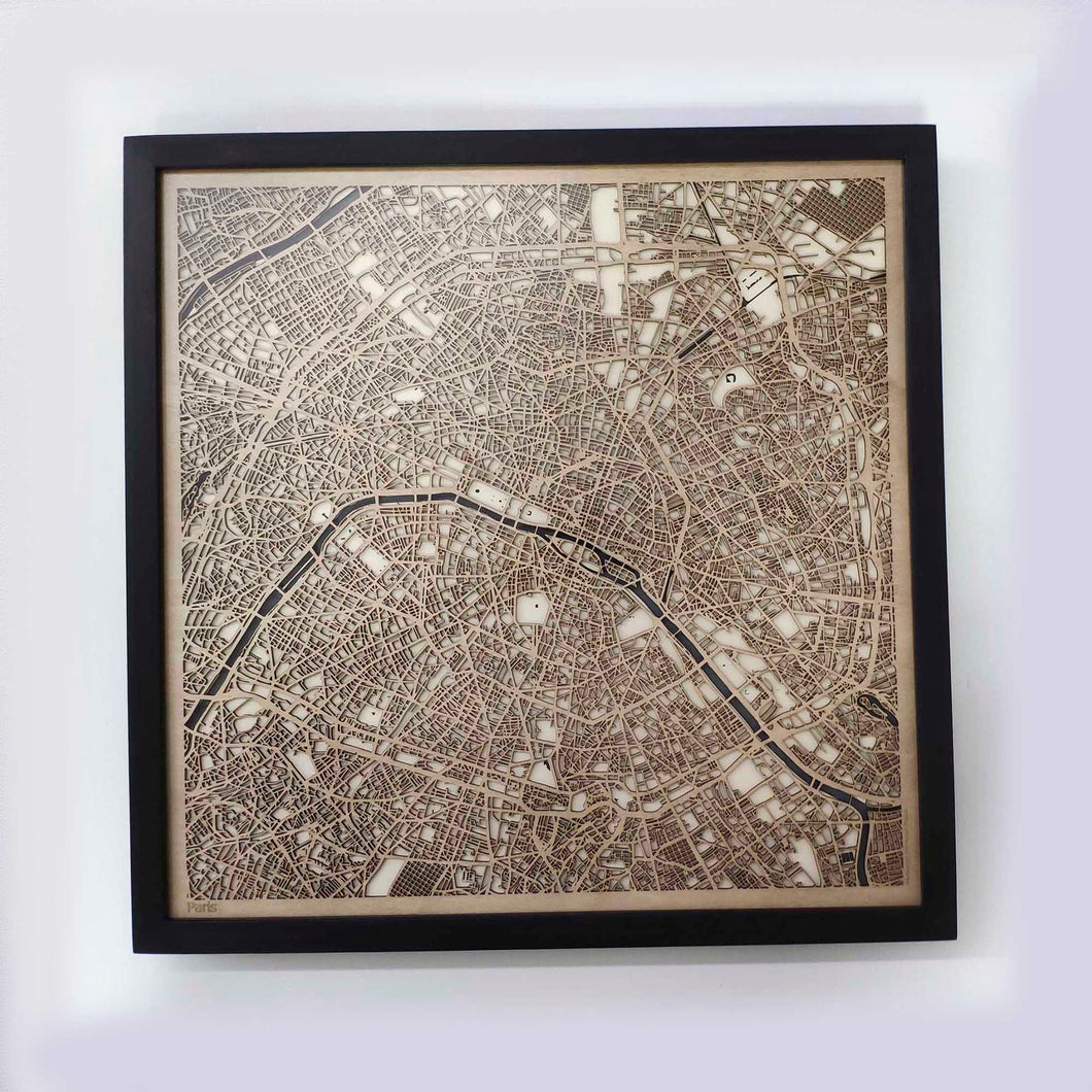 Paris Wooden Map