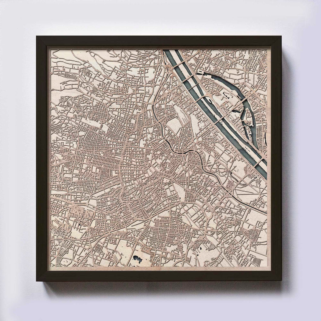 Vienna Wooden Map