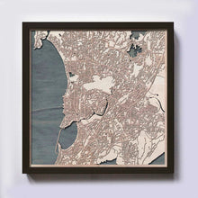 Load image into Gallery viewer, Mumbai Wood Map - Laser Cut Custom Map Streets City 3d Framed Wooden Maps Travel Wall Art - Birthday Christmas Gift Wedding Gifts
