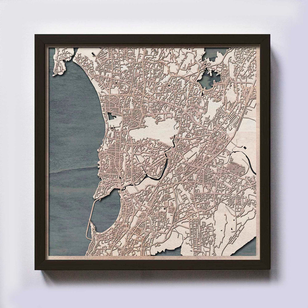 Mumbai Wood Map - Laser Cut Custom Map Streets City 3d Framed Wooden Maps Travel Wall Art - Birthday Christmas Gift Wedding Gifts