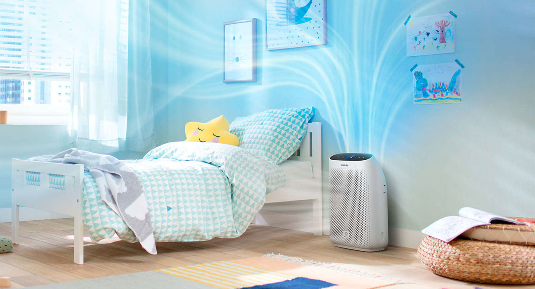 Philips 1000i Connected Air Purifier filters 99.97% of invisible viruses, allergens and pollutants from the air in your home