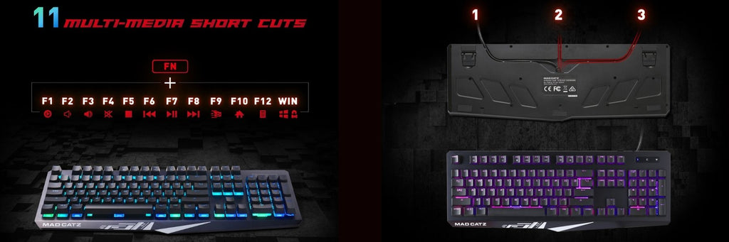 Mad Catz The Authentic STRIKE 2 Mechanical Gaming Keyboard - Black N-KEY ROLLOVER dele nordic