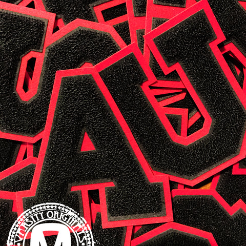 "Black/Red 6"" Chenille Varsity Letter Patches"
