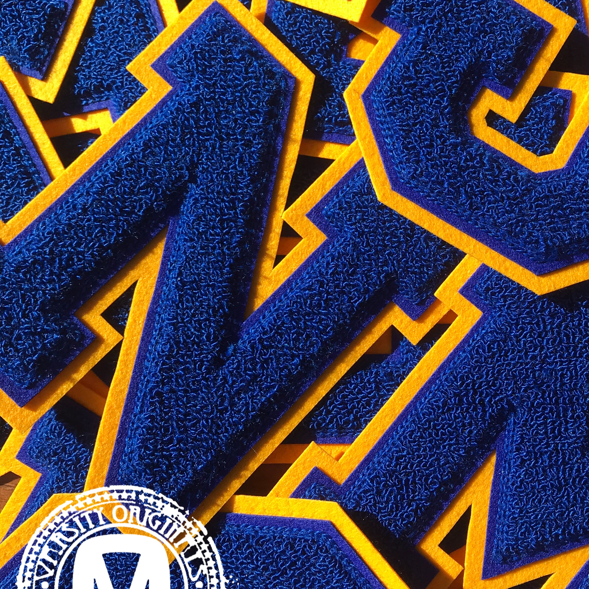 "Blue/Gold 6"" Chenille Varsity Letter Patches"