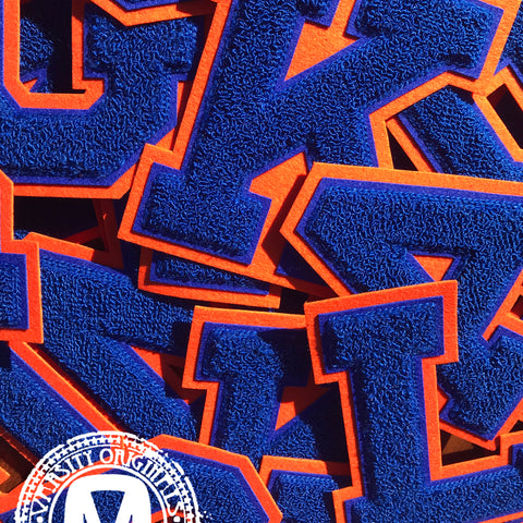 "Royal/Orange 6"" Chenille Varsity Letter Patches"