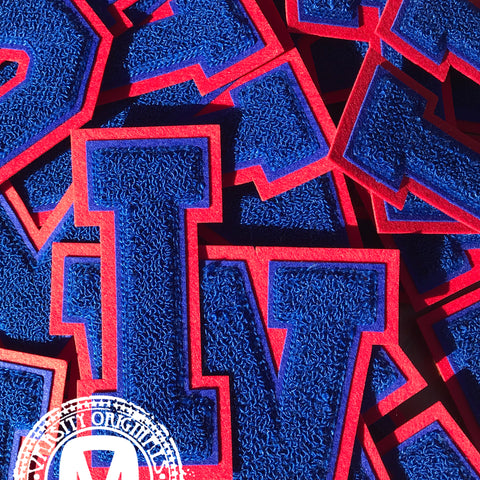 "Royal/Red 6"" Chenille Varsity Letter Patches"