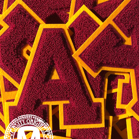 "Cardinal/Gold 6"" Chenille Varsity Letter Patches"