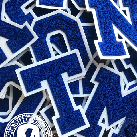 "Royal/White 6"" Chenille Varsity Letter Patches"