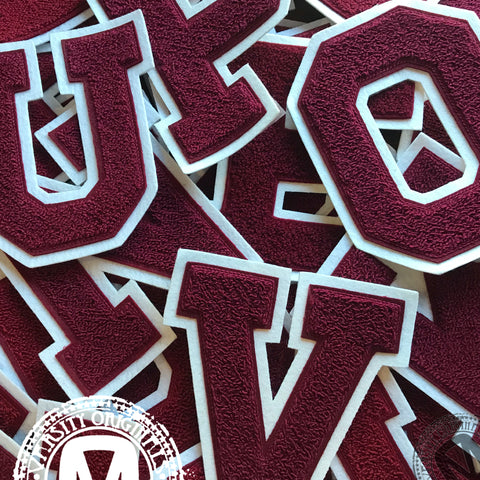 "Cardinal/White 6"" Chenille Varsity Letter Patches"