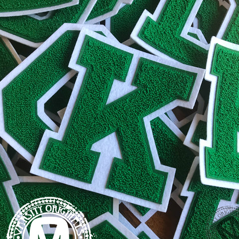 "Green/White 6"" Chenille Varsity Letter Patches"