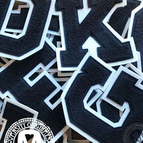 "Navy/White 6"" Chenille Varsity Letter Patches"