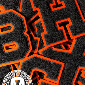 "Black/Orange 6"" Chenille Varsity Letter Patches"