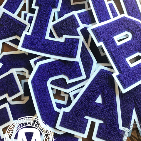 "Purple/White 6"" Chenille Varsity Letter Patches"