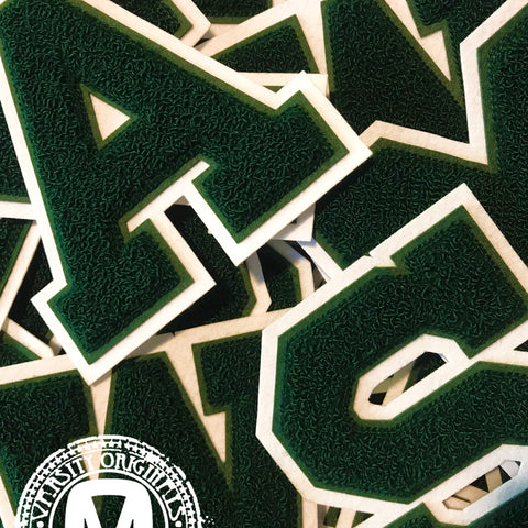 "Forest/White 6"" Chenille Varsity Letter Patches"