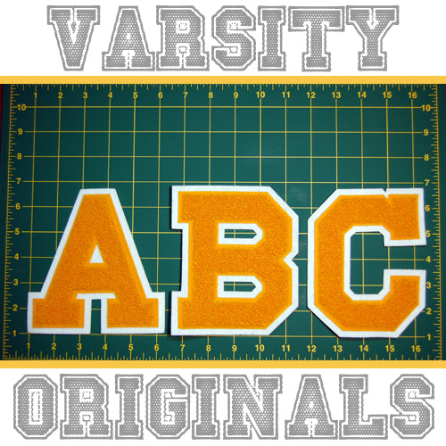 "Gold/White 6"" Chenille Varsity Letter Patches"