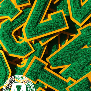 "Green/Gold 6"" Chenille Varsity Letter Patches"