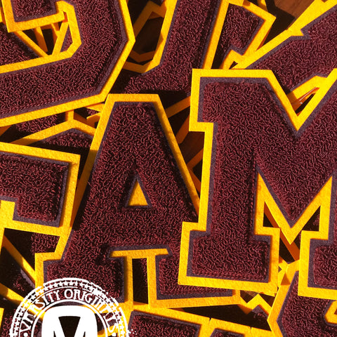 "Maroon/Gold 6"" Chenille Varsity Letter Patches"