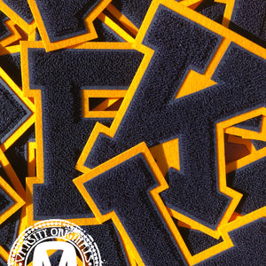 "Navy/Gold 6"" Chenille Varsity Letter Patches"