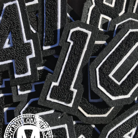 "Black/White 3""  Chenille Varsity Number Patches"