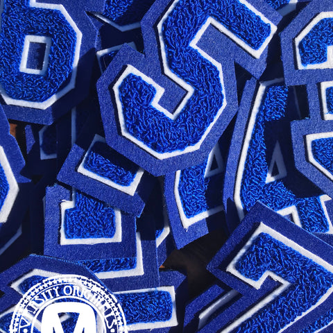"Royal/White 3"" Chenille Varsity Number Patches"