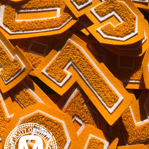 "Gold/White 3"" Chenille Varsity Number Patches"