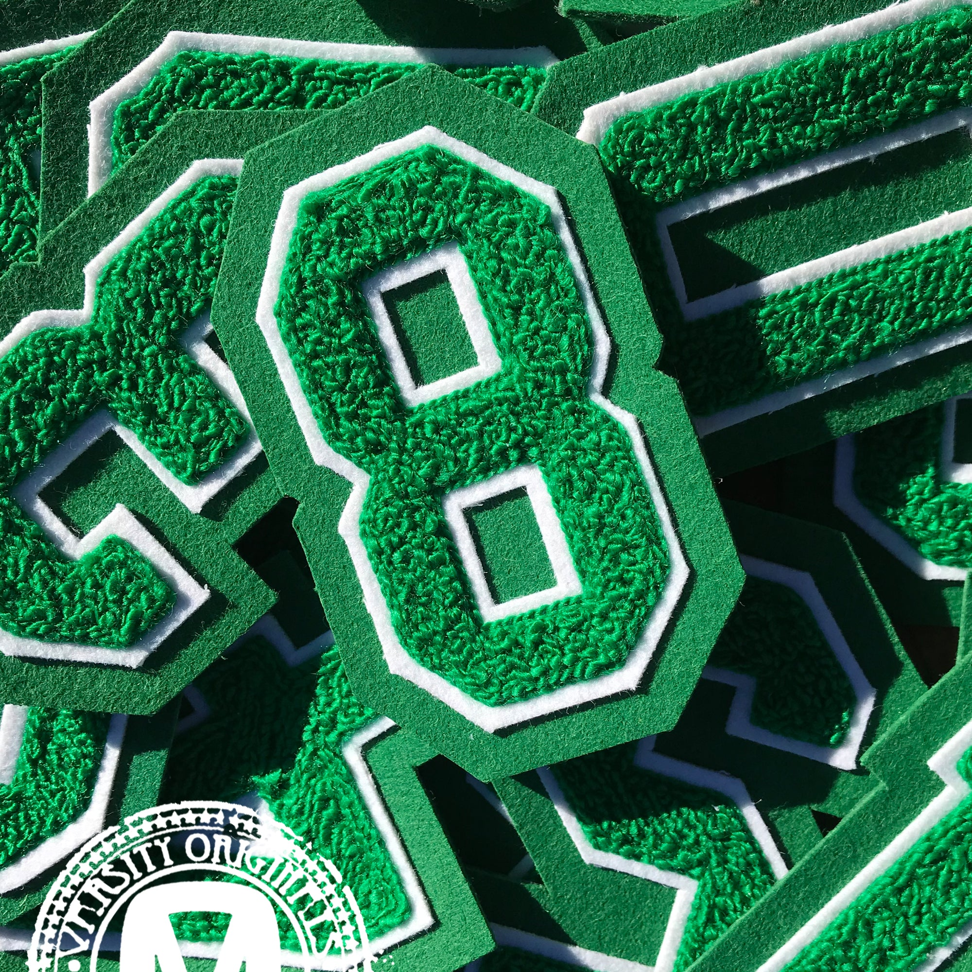 "Green/White 3"" Chenille Varsity Number Patches"