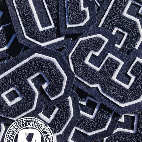 "Navy/White 3"" Chenille Varsity Number Patches"