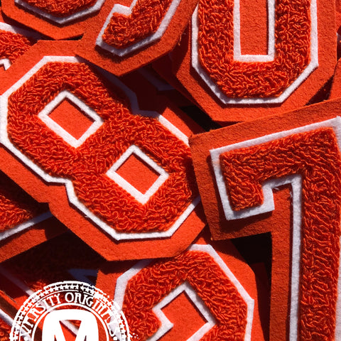 "Orange/White 3"" Chenille Varsity Number Patches"