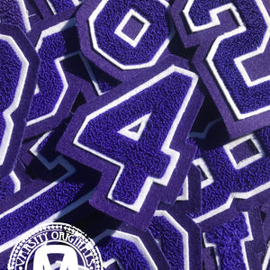 "Purple/White 3"" Chenille Varsity Number Patches"
