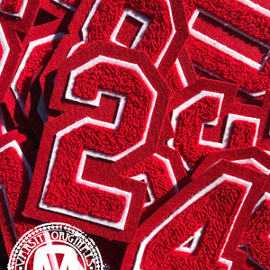 "Red/White 3"" Chenille Varsity Number Patches"