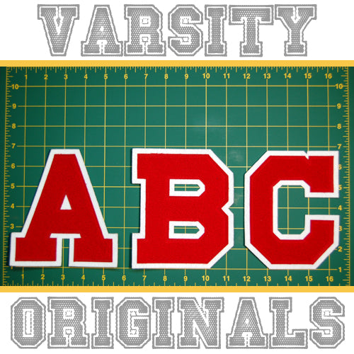 "Red/White 6"" Chenille Varsity Letter Patches"