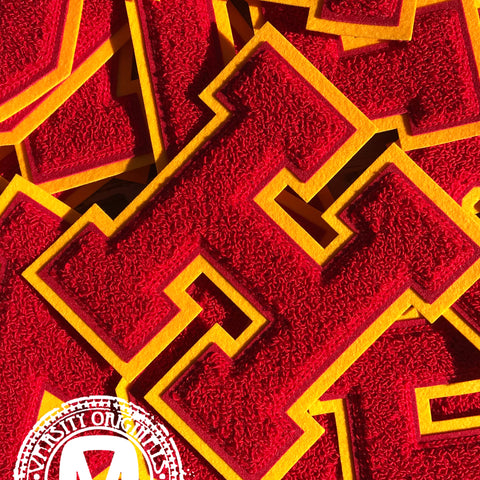 "Red/Gold 6"" Chenille Varsity Letter Patches"