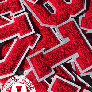 "Red/Grey 6"" Chenille Varsity Letter Patches"