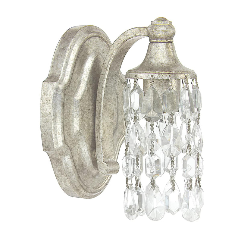 "Capital Lighting 8521AS-CR Antique Silver Blakely Single Light 5"" Wide Bathroom Sconce with Crystal Accents"