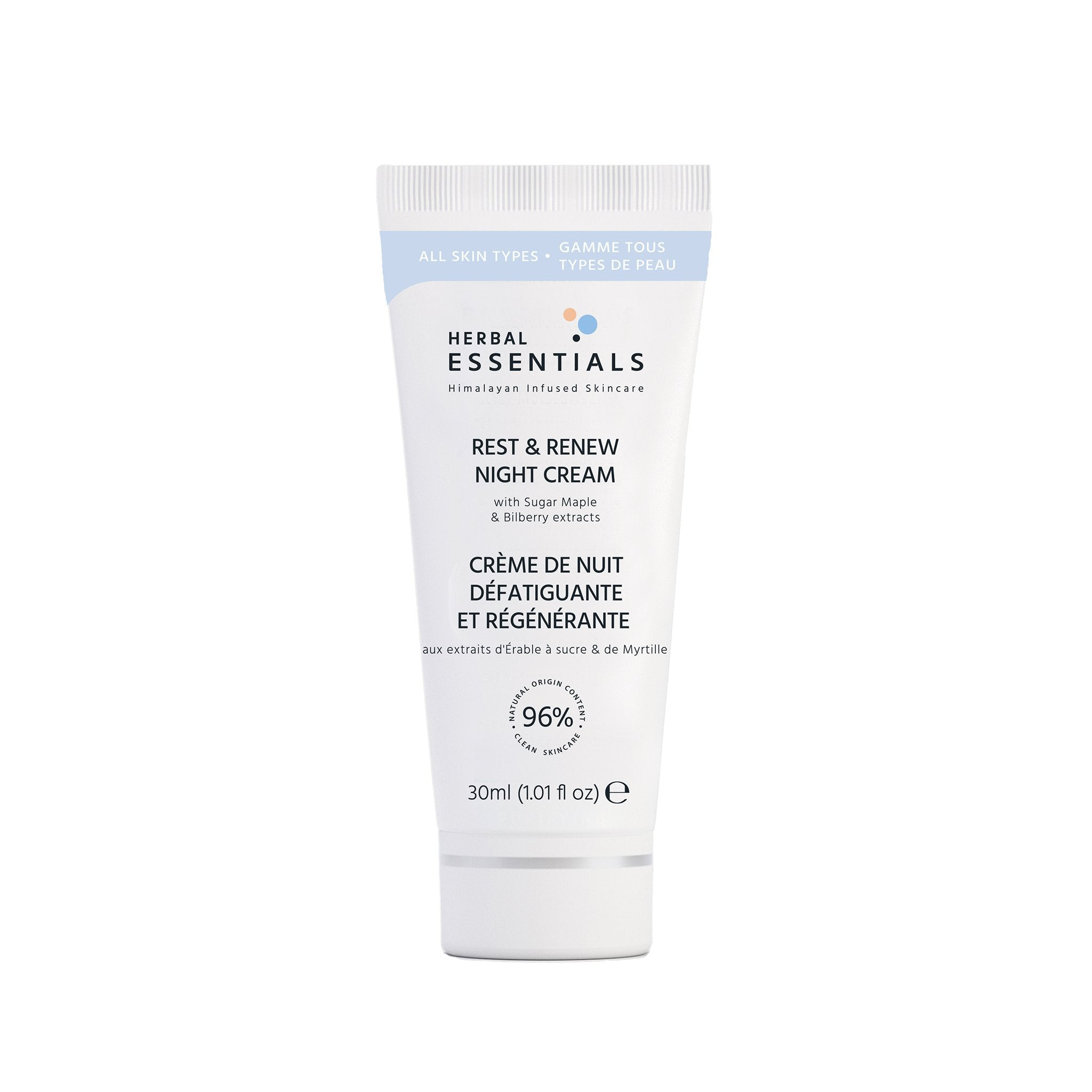 Herbal Essentials Rest & Renew Night Cream with Sugar Maple & Bilberry extracts 30ml