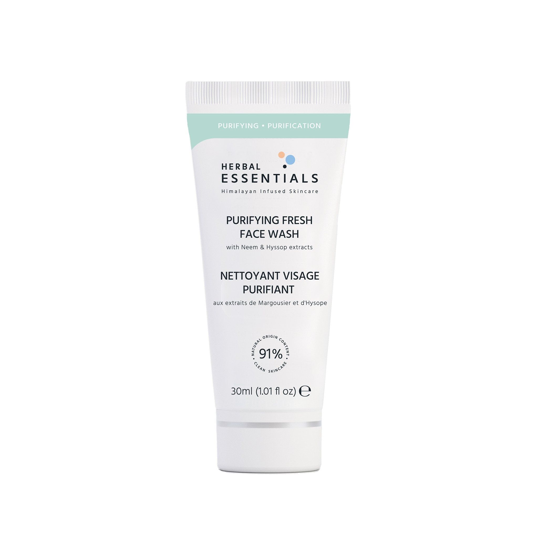 PURIFYING FRESH FACE WASH with Neem & Hyssop extracts - 30ml - Herbal Essentials Skincare