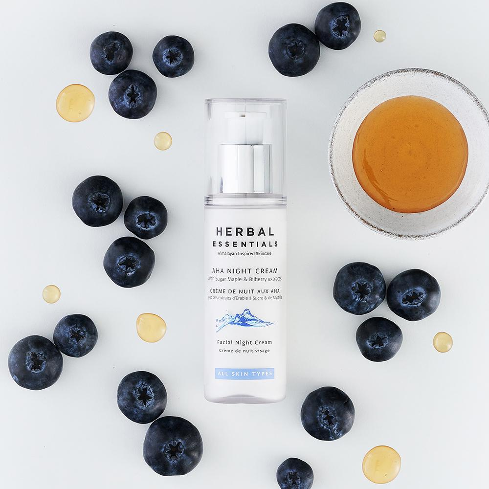 AHA NIGHT CREAM with Sugar Maple & Bilberry extracts - Herbal Essentials Skincare