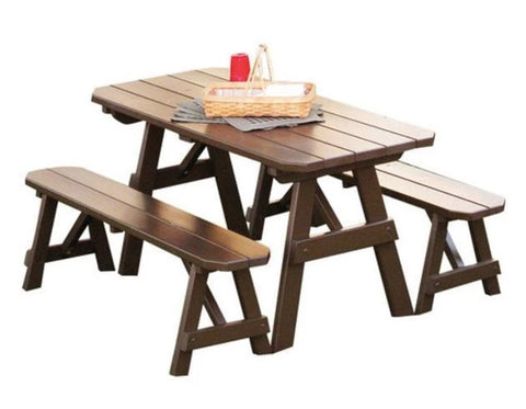 Yellow Pine Traditional Picnic Table with 2 Benches by A & L Furniture