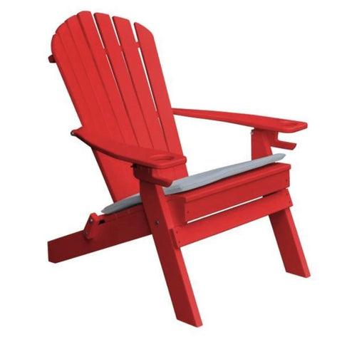 Poly Folding Adirondack Chair with 2 Cupholders by A & L Furniture