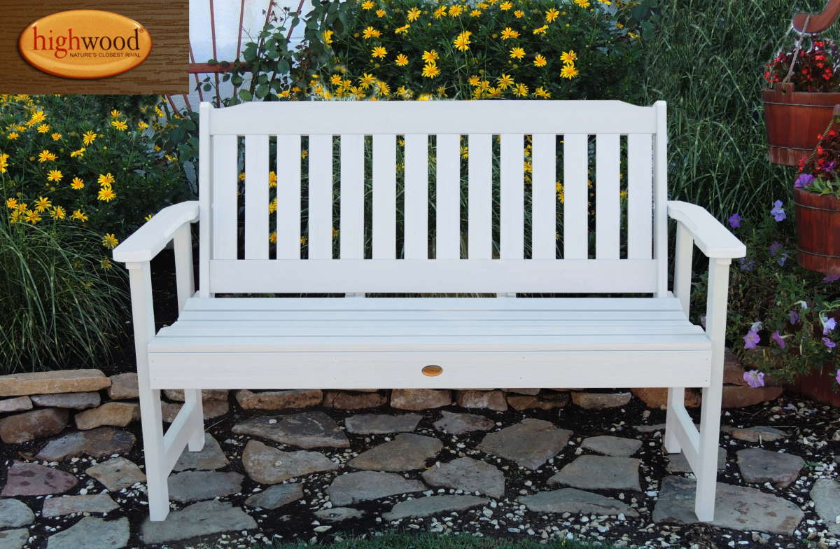 Highland USA White Lehigh Bench With Back And Arms
