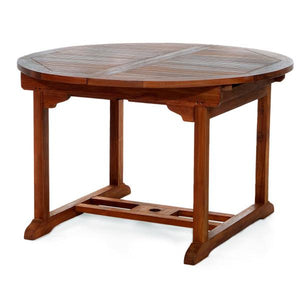 5-Piece Oval Extension Teak Table Folding Arm Set Outdoor Table
