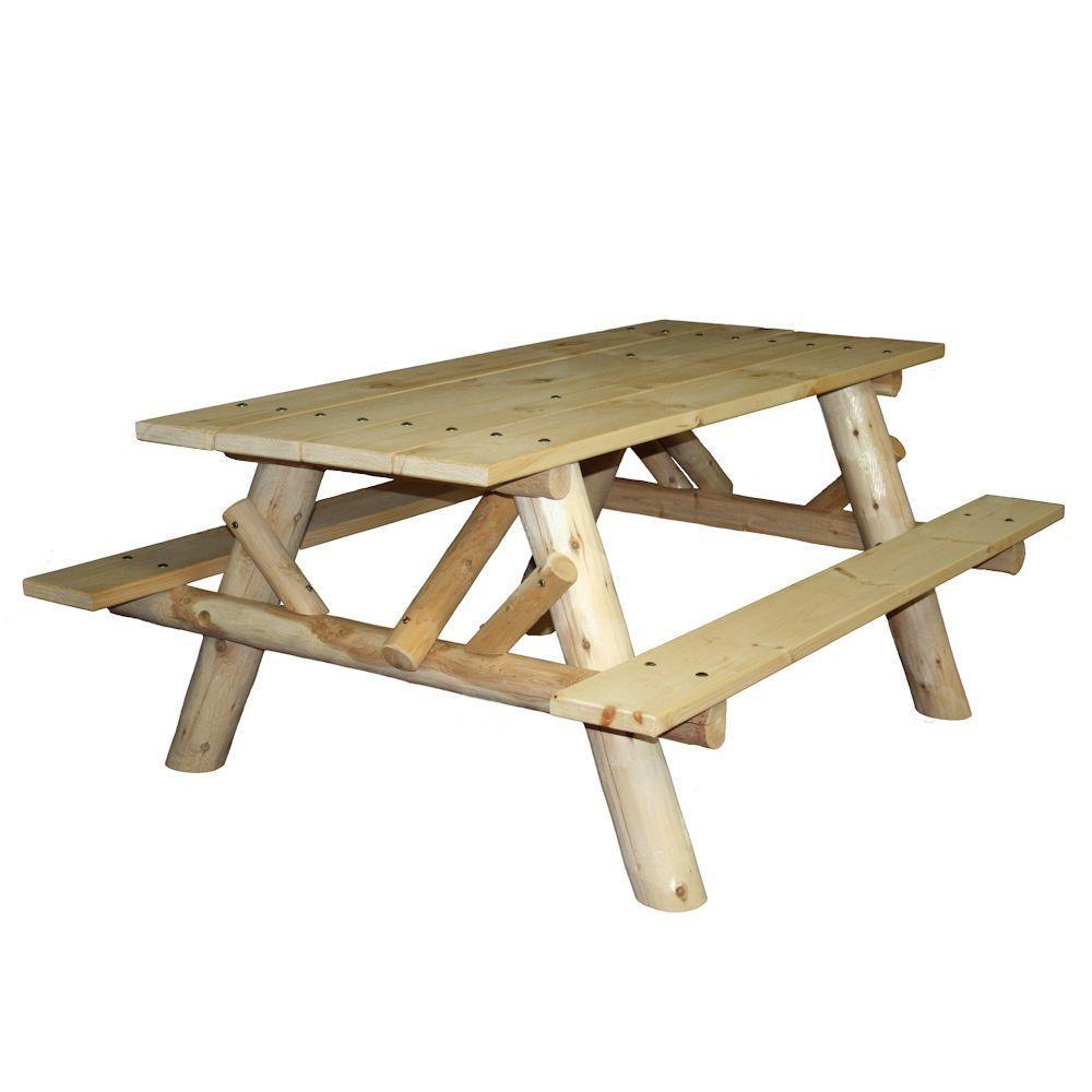 6 ft Log Picnic Table with Attached Benches